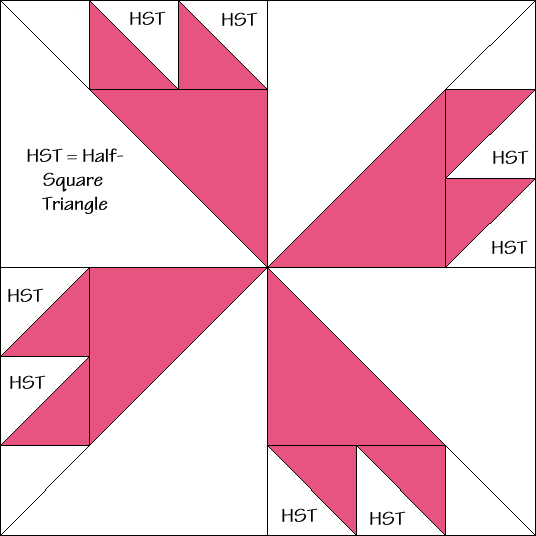 Bright Star Quilt Block Diagram Free Pattern at QuiltTherapy.com!
