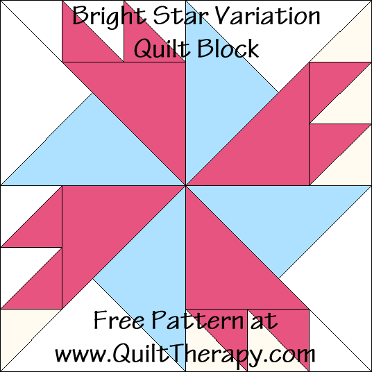 Bright Star Variation Quilt Block Free Pattern at QuiltTherapy.com!