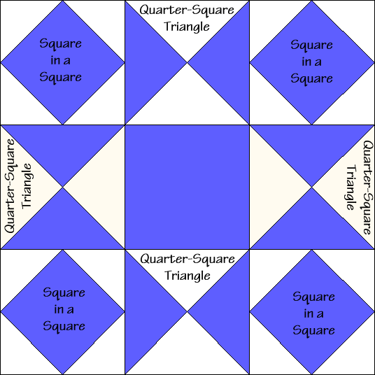Combination Star Quilt Block Diagram Free Pattern at QuiltTherapy.com!