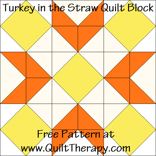 Turkey in the Straw Quilt Block Free Pattern at QuiltTherapy.com!