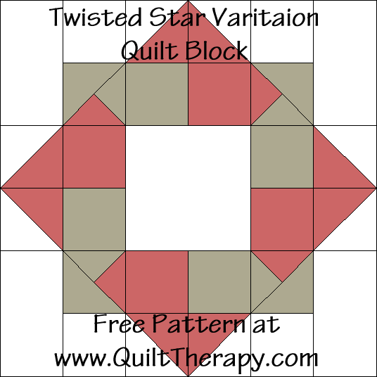 Twisted Star Variation Quilt Block Free Pattern at QuiltTherapy.com!