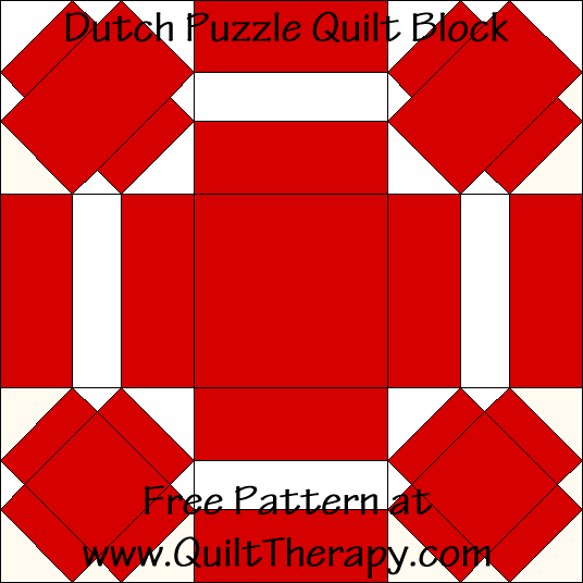 Dutch Puzzle Quilt Block Free Pattern at QuiltTherapy.com!