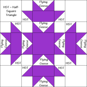 Star and Cross Quilt Block Diagram Free Pattern at QuiltTherapy.com!