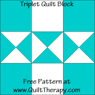 Triplet Quilt Block Free Pattern at QuiltTherapy.com!