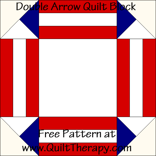 Double Arrow Quilt Block Free Pattern at QuiltTherapy.com!