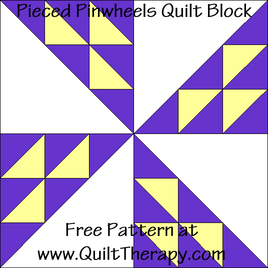 Pieced Pinwheels Quilt Block Free Pattern at QuiltTherapy.com!