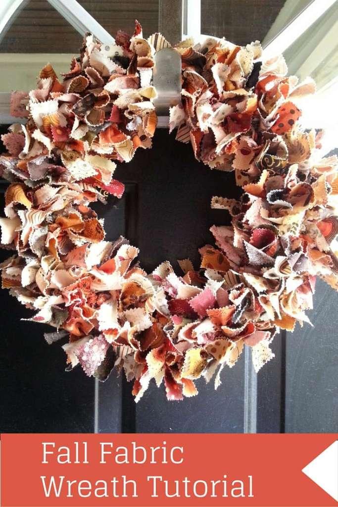 Fall Fabric Wreath Tutorial, fabric wreath, fall, home decor, easy DIY