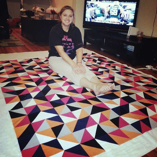 me working on the quilt