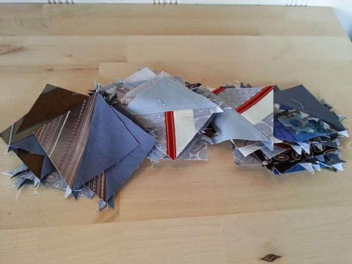 tie pillow half square triangles