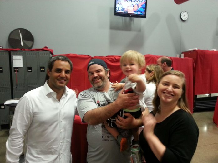 Not the best picture, but the best of the bunch with an active toddler.  Juan Pablo Montoya was very nice!