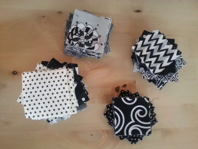 black and white mini charm scraps