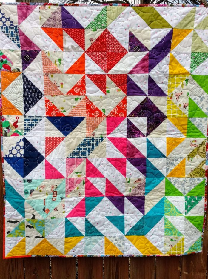 rainbow quilt, scrap quilt, scrappy quilt, half square triangle, HST quilt, baby quilt, sewing with kids