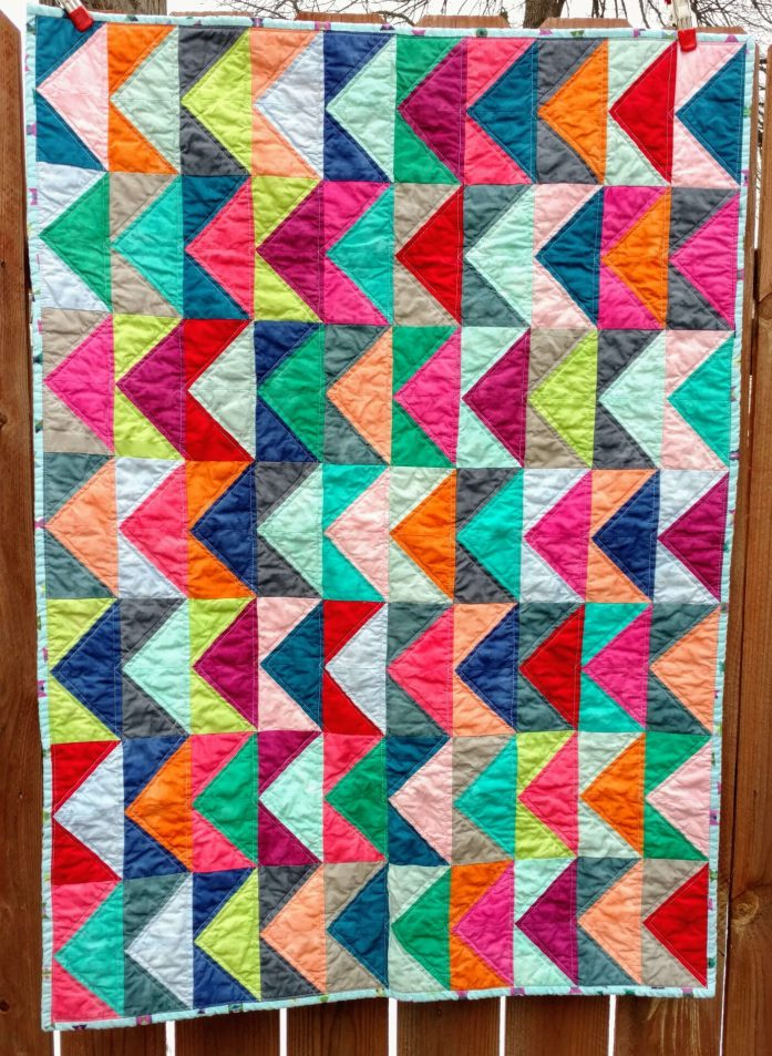 Rainbow baby quilt, gender neutral baby quilt, half square triangle quilt, quilts for sale, boundless fabrics, modern baby quilt