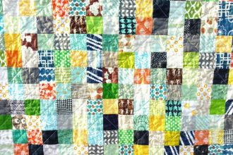 Boy's scrappy postage stamp quilt, quiltytherapy, scrap quilt, baby quilt