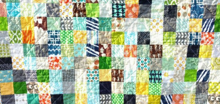 Boy's scrappy postage stamp quilt, quiltytherapy, scrap quilt, baby quilt