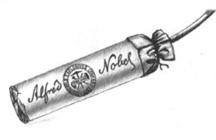Dibujo de un cartucho de dinamita de marca Nobel