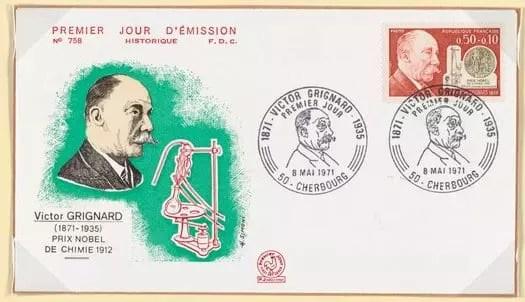 Estampilla conmemorativa del primer día de emisión de un sello en honor a Victor Grignard