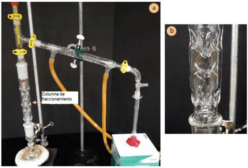 a) Configuración de la destilación fraccionada, b) Acercamiento de la columna de fraccionamiento durante la destilación, con goteo de condensación de las hendiduras de vidrio