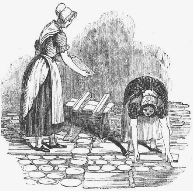Apilando plomo blanco (Dodd, G. British Manufactures, 1884). Manufactura del blanco de plomo