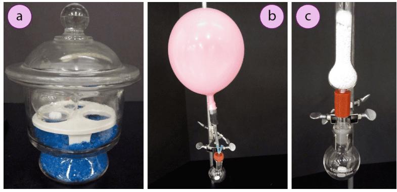 Imagen 3. Secado de vidrio caliente: a) En un desecador, b) Bajo un globo de gas inerte, c) Con un tubo de secado.