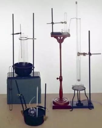 Diferentes montajes del aparato de Victor Meyer