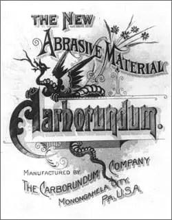 Poster publicitario de 1894 de la Compañía Carborundum para su nuevo producto similar al diamante
