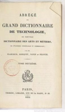 Primera página de uno de los tomos de Grand dictionnaire de technologie, donde Anselme Payen colaboró con diversos artículos