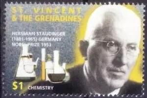Hermann Staudinger en un sello postal de San Vicente y las Granadinas