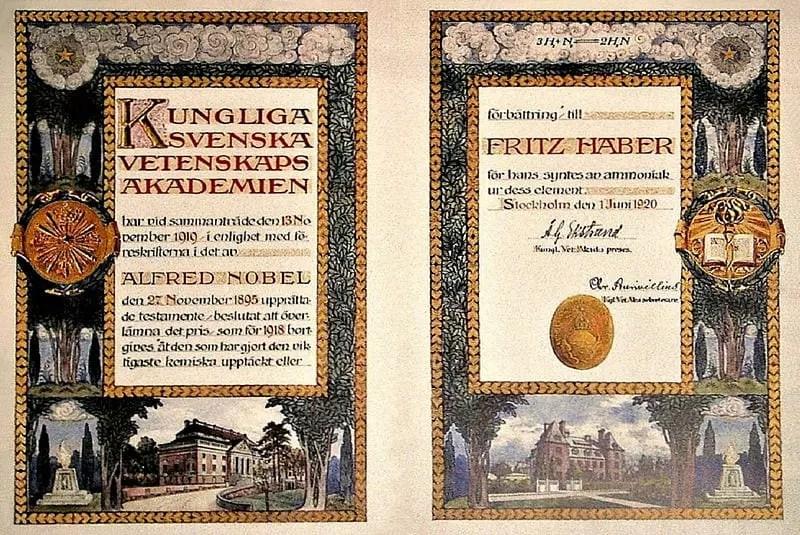 Diploma del premio Nobel de química otorgado a Haber en 1918