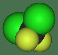 Estructura 3D del Diclorodifluorometano o Freon-12