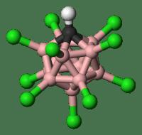 Modelo de bolas y palos de [CHB11Cl11]-. (No se muestra el protón ácido). hidrógeno - blanco, cloro - verde, boro - rosa, carbono - negro.