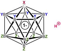 La estructura genérica de un ácido carborano exhibe hasta tres tipos diferentes de sustitutos X, Y y Z. La posición del protón ácido dependerá de los sustitutos y se muestra aquí en una ubicación genérica.