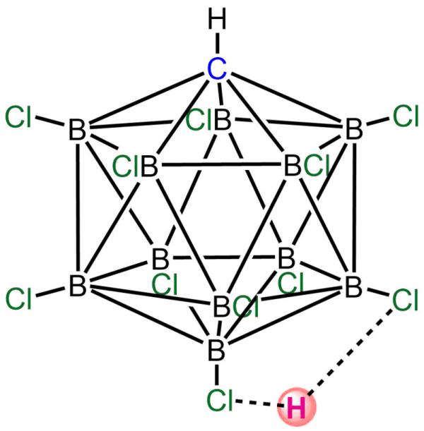 Se demostró que el ácido carborano H(CHB11Cl11) era monomérico en la fase gaseosa, con el protón ácido (mostrado en rojo) unido a Cl(12) y secundariamente unido a Cl(7). La forma monomérica es metaestable cuando se condensa, pero eventualmente se polimeriza para dar una estructura con el protón ácido que se une entre las unidades de carborano (N.B.: Las líneas entre los átomos de carbono y boro del núcleo de carborano muestran conectividad, pero no deben ser interpretadas como uniones simples. Los órdenes de enlace son menores que uno, debido a la deficiencia de electrones).