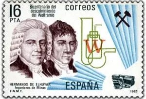 Sello postal emitido en honor a los hermanos D'Elhuyar