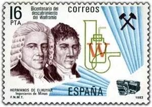 Sello postal emitido en honor a los hermanos D'Elhuyar