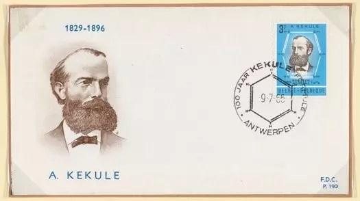 Portada de primer día de circulación de sello postal Belga August Kekule