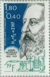 Sello postal francés dedicado a Henri Moissan