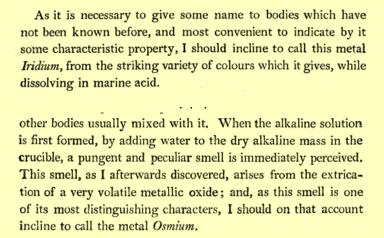 Smithson Tennant anuncia su descubrimiento de los elementos Iridio y Osmio, en Philosophical Transactions of the Royal Society,1804