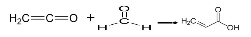 Síntesis de ácido acrílico a partir de formaldehído y ceteno.