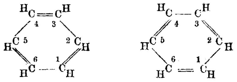 La estructura propuesta por Kekulé del benceno con doble enlace alternado