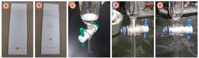 Figura 2: a) Placa de TLC de la mezcla de ferroceno crudo/acetilferroceno antes de la elución, b) Después de la elución, c) Columna con la frita, d) Columna con el algodón acuñado en el fondo, e) Columna que carece de la cuña de algodón (tendría que ser insertada antes de su uso).