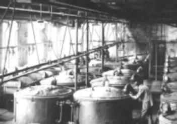 Producción de colorante índigo en una planta de BASF (1890)