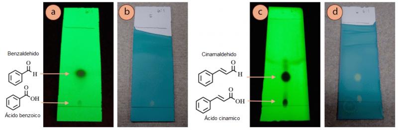 Figura 4: Placas de TLC de: a) Benzaldehído con luz UV, b) Benzaldehído con mancha verde de bromocresol, c) Cinamaldehido con luz UV, d) Cinamaldehido con mancha verde de bromocresol.
