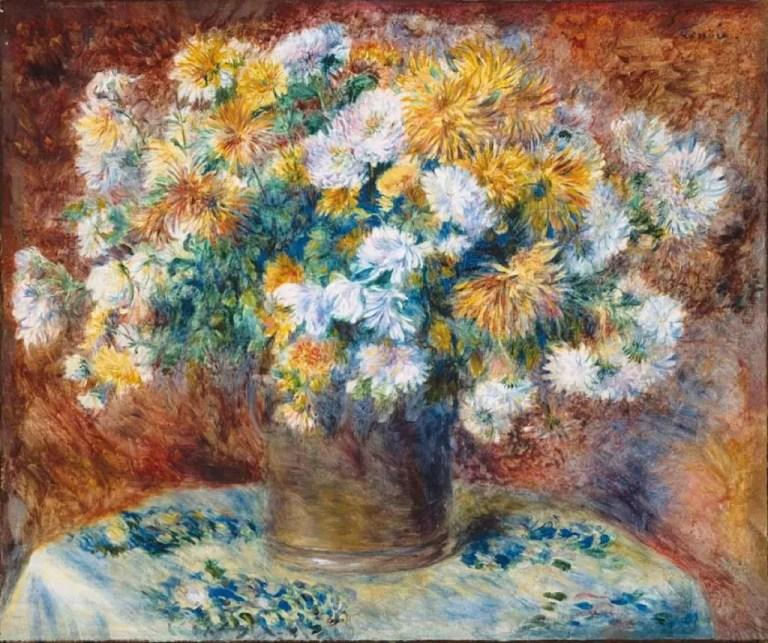 Renoir (1841-1919), Crisantemos (1881-82), óleo sobre lienzo. En esta pieza se empleo malaquita para el color verde