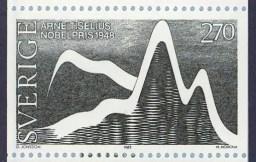 Sello postal sueco emitido en honor a Arne Tiselius, 1983