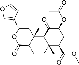 Estructura de la salvinorina A, molécula esquiva para Hofmann