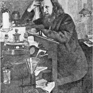 Dmitri Mendeleev en su laboratorio