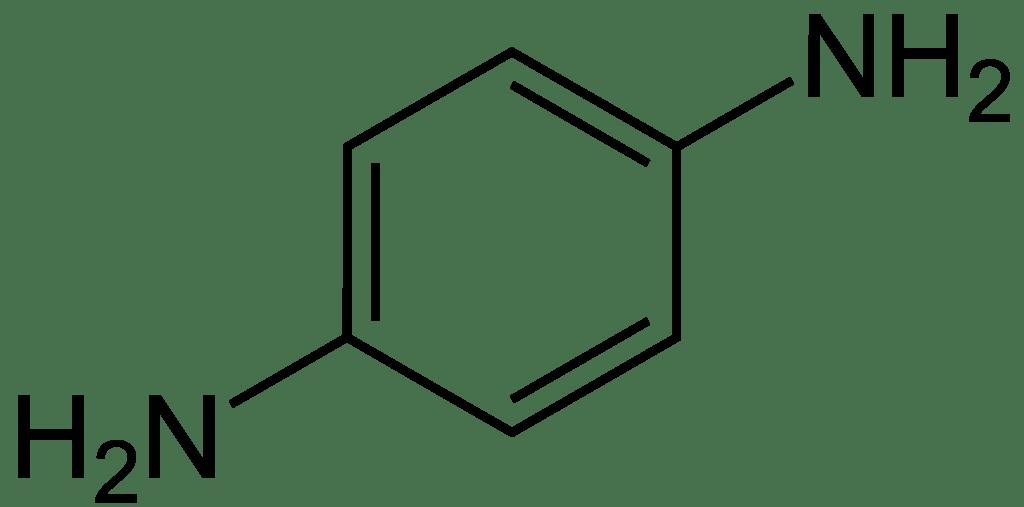 Estructura química de la parafenilendiamina (PPD)