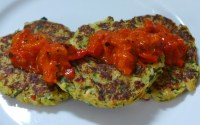 zucchini patties with ajvar