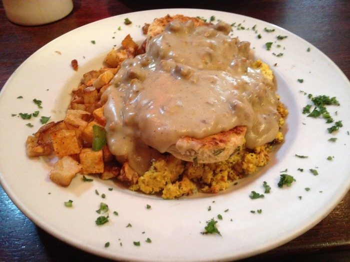 scrambled tofu, biscuit and gravy